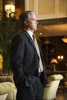 Businessman in hotel lobby.